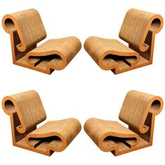 "Frank Gehry, Rare Set of Four ""Contour"" Lounge Chairs, Corrugated cardboard and masonite. Offered by Bermingham & Co. (New York City). Frank Gehry, Cool Chairs, Lounge Chairs, Contemporary Art Forms, Toronto, Ludwig Mies Van Der Rohe, Weird Shapes, Mid-century Modern, Modern Lounge"
