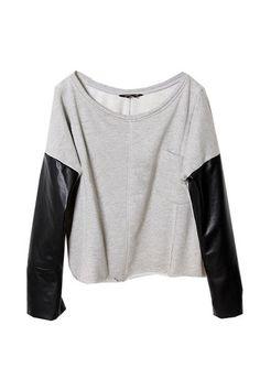 Leather + sweat shirt