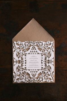 Stunning laser cut wedding invitation design #weddingstationary #paperlove