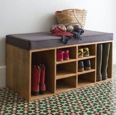 Shoe storage bench entryway 24 DIY Entryway Shoe Storage Bench - HomyBuzz How Do We Know What Time I Shoe Storage Small, Shoe Storage Bench Entryway, Shoe Storage Unit, Wooden Storage Bench, Bench With Storage, Bedroom Storage, Storage Ideas, Kitchen Storage, Food Storage