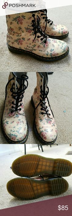 Flower print women's Doc Martens Barely used size 8 Women's Doc Martens,  have some slight scuffs. Doc Martens Shoes Lace Up Boots