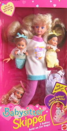 Amazon.com: Barbie Babysitter SKIPPER Doll 3 Babies Hold on For Hugs! (1994): Toys & Games