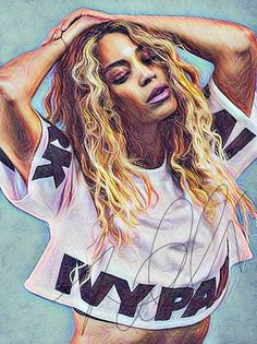 Beyonce Drawing Illustration Wall Art PRINT Card portrait