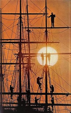 Sundown on sailing ship