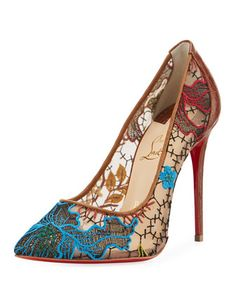 Follies Lace Red Sole Pump, Multi by Christian Louboutin at Neiman Marcus.