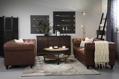 Chesterfield Soffgrupp 3-sits+2-sits - Röd/Brun Läder | Trademax.se