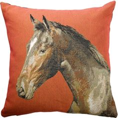 Gracie Oaks Bold and beautiful, a horse is portrayed in beautiful detail against a rich sienna red background on the square tapestry throw pillow. The back of the pillow is a solid color black cotton canvas. A perfect gift for any horse lover. Leather Throw Pillows, Red Throw Pillows, Throw Pillow Sets, Outdoor Throw Pillows, Horse Head, Red Background, Decorative Pillows, Tapestry, Horses