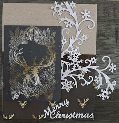 Scraps of Darkness scrapbook kits: Laura Gilhuly created this masculine handmade Christmas card  using the BoBunny papers from our December kit - Wilma's Winter Wishes. Find our kits at www.scrapsofdarkness.com
