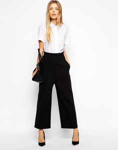 ASOS Ponte Wide Leg Trousers In Awkward Length