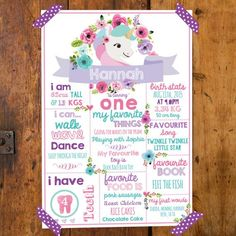Unicorn Birthday Party Poster 11x16 - First Birthday Stats Poster - Birth Stats - Instant Download & Edit with Adobe Reader