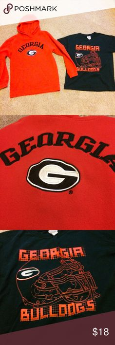 UGA 🎉 bundle🏈hoodie and T-shirt Red Georgia hoodie, good used condition. Wear from wash only. Georgia black t-shirt NWOT. Both size youth medium, 10-12. UGA bundle! UGA Shirts & Tops