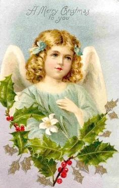 Vintage Christmas angel as depicted on a card