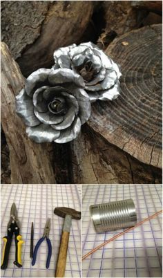 50 Jaw-Dropping Ideas for Upcycling Tin Cans Into Beautiful Household Items! 50 Jaw-Dropping Ideas for Upcycling Tin Cans Into Beautiful Household Items! Wow, I may never throw out a tin can again … not now that I know you can turn an old Tin Can Art, Tin Art, Tin Foil Art, Tin Can Flowers, Metal Flowers, Metal Roses, Fabric Flowers, Aluminum Can Crafts, Metal Crafts
