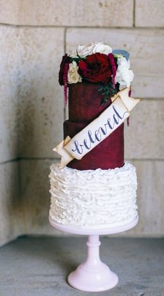 Romantic red and white wedding cake; Featured Cake: Sweet Fix RVA