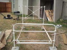 vintage wrought iron twin bed frame - $300 (Denton)
