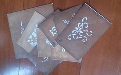 """These antique stencils were cut when ARTS & CRAFTS STYLE was at its most popular; 1880 - 1920. These are designs on stencil sheets measuring 4- 8"""" square. Some were made to be CORNER designs. Never used. Great for patterns. Stencil # 379, 382, 408, 417, 507, 509, 510 and 520."""