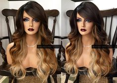 Lace Front Wig Ombre // Brown Blonde Wavy Heat SAFE // LACE