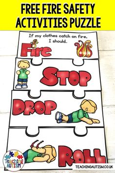 Are you looking for a free fire safety activity to teach your students what to do in an emergency situation. Fire Safety Crafts, Fire Safety For Kids, Fire Safety Week, Child Safety, Preschool Fire Safety, Teaching Safety, Autism Teaching, Fire Prevention Week, Health And Safety