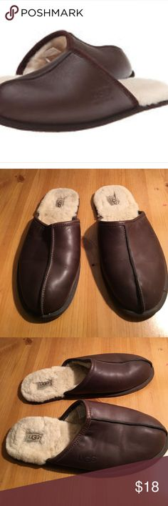 UGG MENS LEATHER SLIPPERS SIZE 12 PREOWNED GENTLY WORN BROWN LEATHER STYLE 5173 MENS SLIPPERS SIZE 12. SEE ALL PHOTOS UGG Shoes Loafers & Slip-Ons