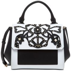 Guess Evette Top Handle Flap Satchel (130 AUD) ❤ liked on Polyvore featuring bags, handbags, white floral, studded handbags, white handbags, guess handbags, top handle satchel handbags and satchel purses