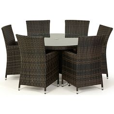 This round table and chair set is contemporary, stylish and practical for continued outdoor use. It has a sturdy, rust-proof aluminium frame and is finished in a weather and water-resistant woven PU which mimics the look of rattan in mixed brown shades. The table has a tempered glass top and the chairs have beige cushions with removable fabric covers.