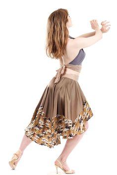 golden cranes silk skirt