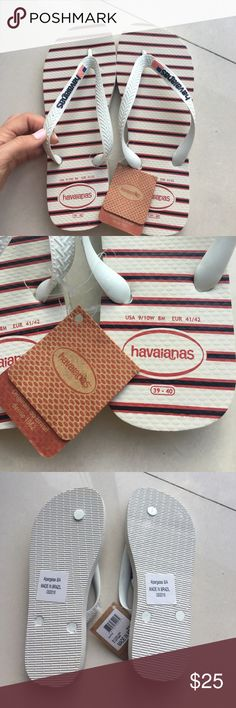 NWT Havaianas sz 9/10 Americans white flip flops These are a pair of brand new with original tags Havaianas sz 9/10 (39-40) Americans white flip flops. These are a special edition pair from the Olympics. There is red and blue detailing and the American flag on the strap. Please ask me any questions if you have any! Havaianas Shoes Sandals