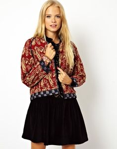ASOS Jacket in Print with Pintuck Detail