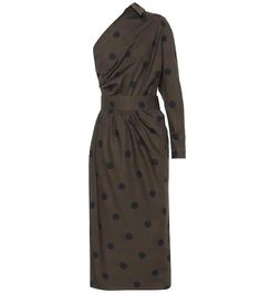 Angolo polka-dot poplin midi dress green navy blue one-shoulder cotton Green Midi Dress, Satin Midi Dress, Satin Dresses, Dot Dress, Cotton Dresses, Cotton Shirt Dress, Poplin Dress, Instyle Magazine, Silk Slip