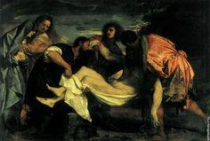 """Положение во гроб 1524-1526. Музей Лувр, Париж.Так, например, Тициан, для того чтобы подчеркнуть тяжелый, волочащийся ритм трагической процессии, выбирает для своего """"Положения во гроб"""" горизонтально вытянутый формат."""