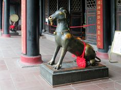 This bronze goat at the Daoist Qingyang Gong  Temple in Chengdu, China, includes attributes of animals in the Chinese zodiac: tiger paws, unicorn horn, snake's tail, etc. Tiger Paw, Chinese Zodiac, Chengdu, Horns, Temple, Unicorn, Lion Sculpture, Bronze, China