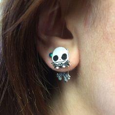 Cute Nightmare Before Christmas Jack Skellington Clinging Fake Gauge... ❤ liked on Polyvore featuring jewelry, earrings, fake jewelry, fake earrings, artificial jewelry, christmas earrings and imitation jewelry