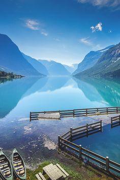 Ice blue waters of Lovatnet, Norway.