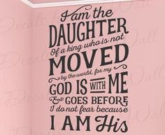 I Am The Daughter Of A King God No Fear Vinyl Wall Decal Bible Quote T28 #RexburgVinyl