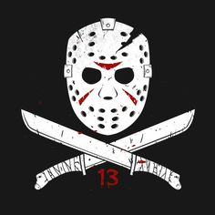 A slasher skull and crossbones. Friday the Jason Voorhees on a t-shirt by Blair J. Arte Horror, Horror Art, Horror Drawing, Horror Movie Characters, Horror Movies, Jason Voorhees Drawing, Freitag Der 13. Tattoo, Jason Friday, Friday The 13th Tattoo