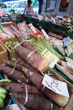 Edible bamboo shoots, Nishiki Ichiba Market, Kyoto, Japan