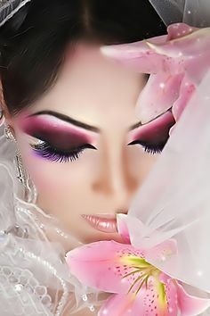 Arabic Makeup - dramatic eyeliner and bright colors with orchids