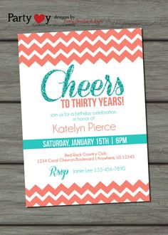 60th birthday party invitation sixty and fabulous glitter glam items similar to chevron birthday invitation coral and teal birthday invitation adult birthday invitation birthday on etsy stopboris Images