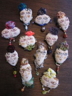 Textile Jewelry, Fabric Jewelry, Jewelry Art, Jewlery, Fabric Dolls, Fabric Art, Paper Dolls, Tiny Dolls, Soft Dolls