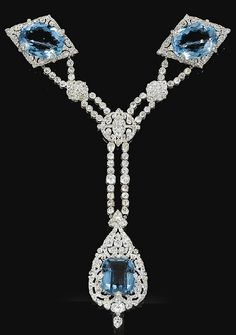 1912 The Olga Aquamarine and diamond necklace by Cartier, formerly belonging to Princess Paley.