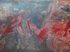 Tramonto, Acrilico, malta, su tela. Autore: Simona Iapichino. Danze colore di nuvole muovono la luce del giorno verso la quiete della sera. Tramonto estatico. Innanzi irrompe il rosso candore dell'anima.