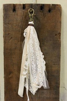 Items similar to Vintage Chic Boho Keychain-PurseCharm- Vintage ribbon, trim and lace on Etsy Tassel Keychain, Diy Keychain, Diy Tassel, Tassels, Homemade Crafts, Crafts To Make, Handmade Keychains, Yarn Crafts, Scrap