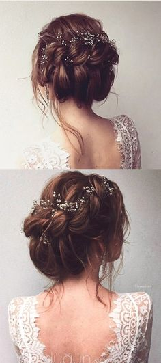 gorgeous bridal updo hairstyle for all brides frisuren haare hair hair long hair short Wedding Hair And Makeup, Hair Makeup, Wedding Nails, Boho Wedding Hair Updo, Boho Hair Updo, Whimsical Wedding Hair, Bride Makeup, Boho Makeup, Wedding Hair Pins