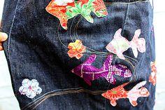 Customised Levi's Engineered Jeans Skirt Kimono by vortexlondon