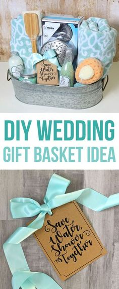This DIY wedding gift basket idea has a shower theme and includes bath towels, a luxury shower head and other bath goodies, all packaged in a cute farmhouse galvanized metal tin. A unique wedding present the newlyweds didn't think to put on their gift reg
