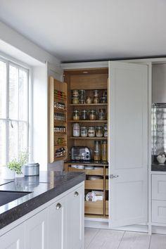 Heritage Kitchen – by Mowlem 03 Mowlem & Co Heritage Kitchen - Own Kitchen Pantry Kitchen Larder Cupboard, Kitchen Units, New Kitchen, Kitchen Dining, Kitchen Decor, Kitchen Cabinets, Shaker Kitchen, Kitchen Ideas, Cuisines Diy