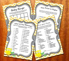 Yellow Chevron and Owl Baby Shower Games by perfectcelebrations Minion Baby Shower, Tea Party Baby Shower, Baby Shower Games, Baby Boy Shower, Sunshine Baby Showers, Star Baby Showers, Sprinkle Invitations, Baby Shower Invitations, Tiffany Baby Showers