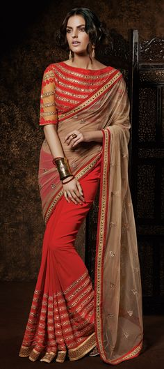 154938: BRIDAL SAREE - new designerwear for brides and party-lovers: Order this one at flat 15% off, free shipping worldwide.  #saree #Red #Indianfashion #bridalwear #wedding #partywear #onlineshopping
