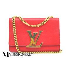 Louis Vuitton Louise Mm Chain Red Leather Shoulder Bag LV Logo f6b375361978e