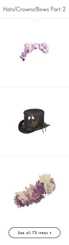 """""""Hats/Crowns/Bows Part 2"""" by drskullz on Polyvore featuring accessories, hair accessories, flower crowns, fillers, flowers, flower garland, flower hair accessories, floral crown, floral garland and hats"""